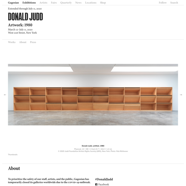 Donald Judd: Artwork: 1980, West 21st Street, New York, March 12–July 11, 2020 | Gagosian
