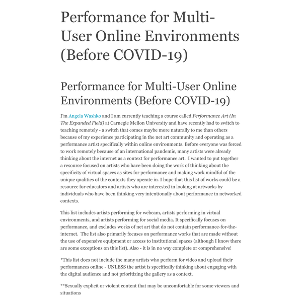 Performance for Multi-User Online Environments (Before COVID-19)