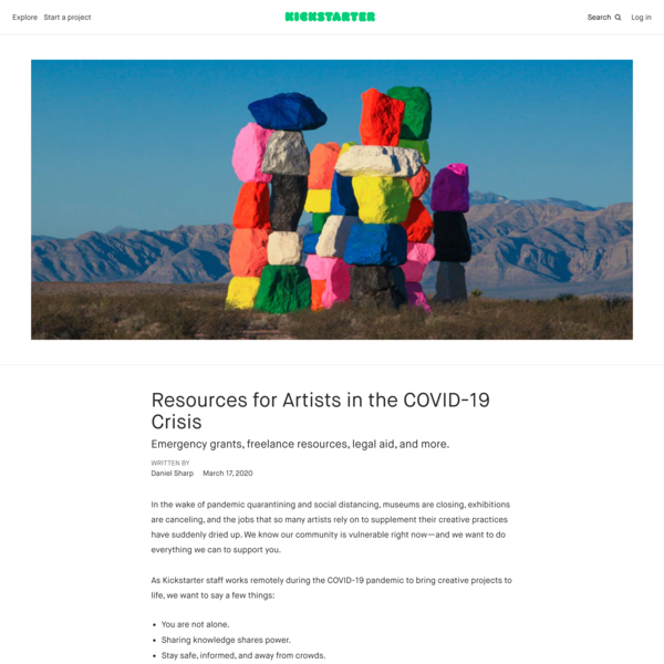 Resources for Artists in the COVID-19 Crisis
