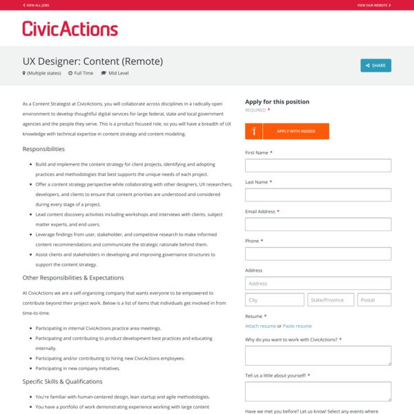*remote* CivicActions, UX Designer