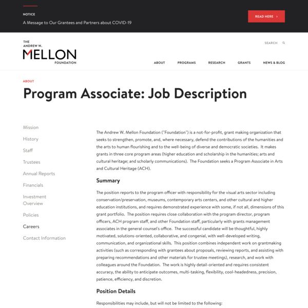 *remote* Andrew W. Mellon Foundation, Program Associate