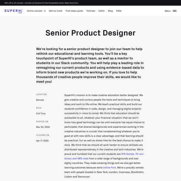 *remote* SuperHi, Sr Product Designer