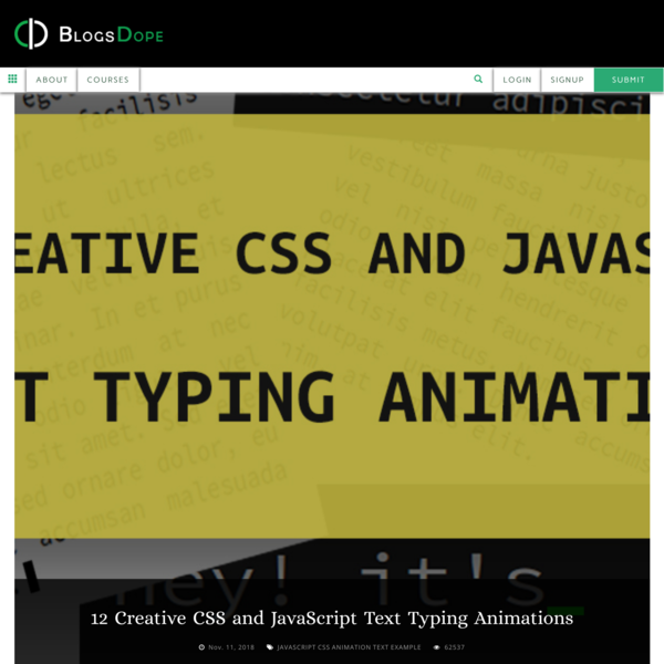 12 Creative CSS and JavaScript Text Typing Animations