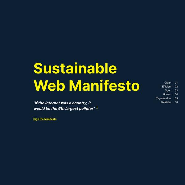 Sustainable Web Manifesto