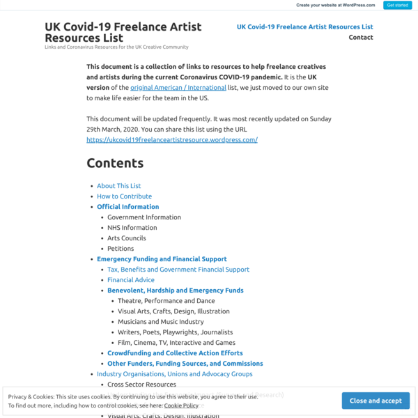 UK Covid-19 Freelance Artist Resources List