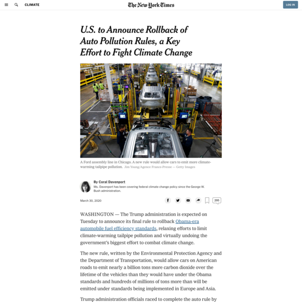 U.S. to Announce Rollback of Auto Pollution Rules, a Key Effort to Fight Climate Change