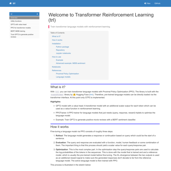 Welcome to Transformer Reinforcement Learning (trl)   trl