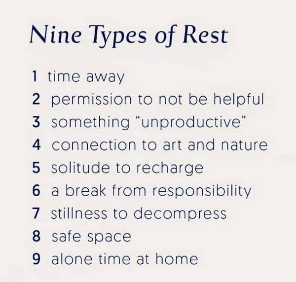 Nine types of rest