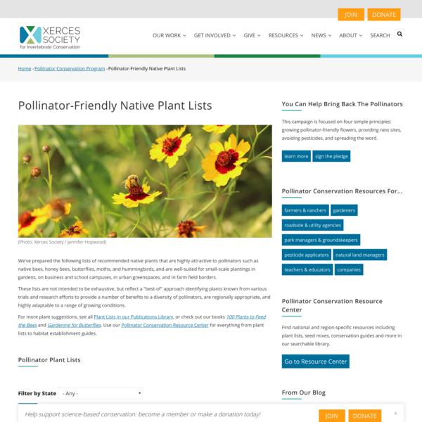 Pollinator-Friendly Native Plant Lists   Xerces Society