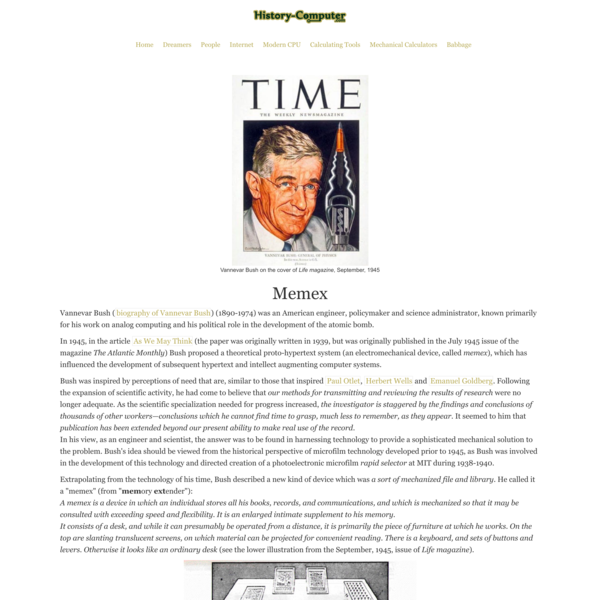 Memex - Complete History of the Memex of Vannevar Bush