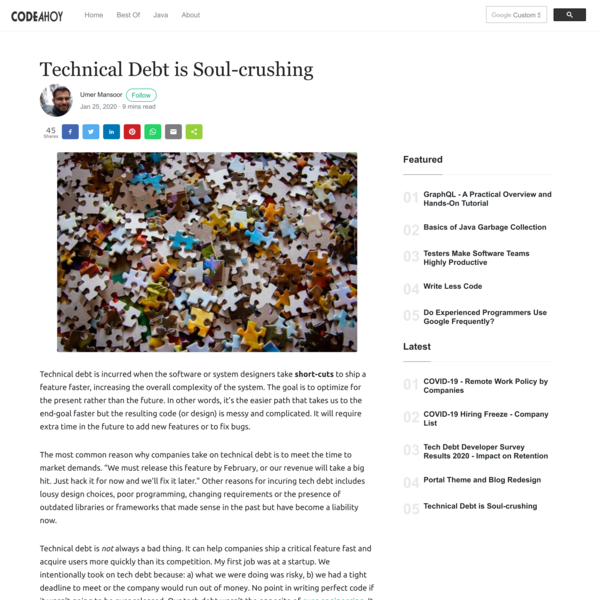 Technical Debt is Soul-crushing