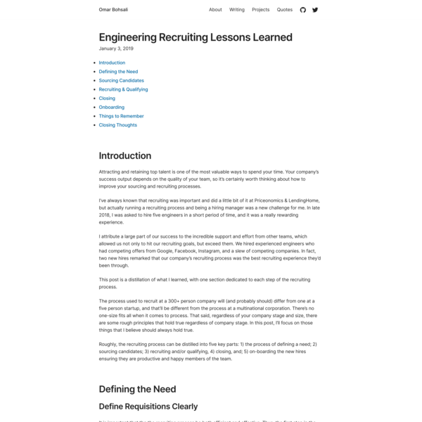 Engineering Recruiting Lessons Learned