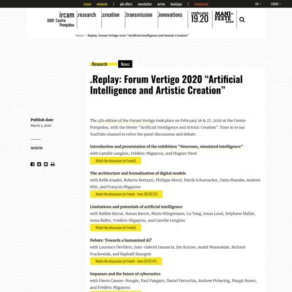 """Replay: Forum Vertigo 2020 """"Artificial Intelligence and Artistic Creation"""""""