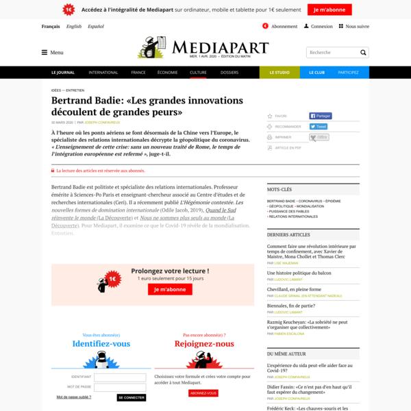 Bertrand Badie: «Les grandes innovations découlent de grandes peurs»