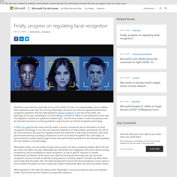 Finally, progress on regulating facial recognition - Microsoft on the Issues