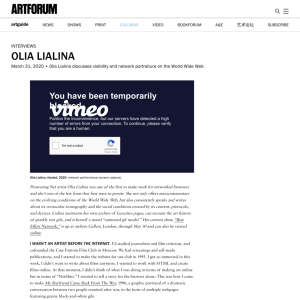 Olia Lialina discusses visibility and network portraiture on the World Wide Web