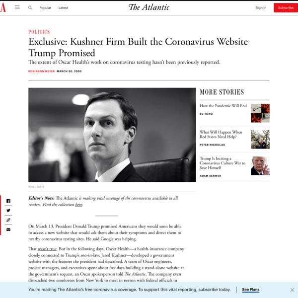 Exclusive: Kushner Firm Built the Coronavirus Website Trump Promised