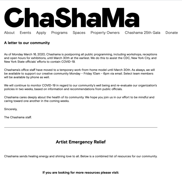 A letter to our community   Chashama