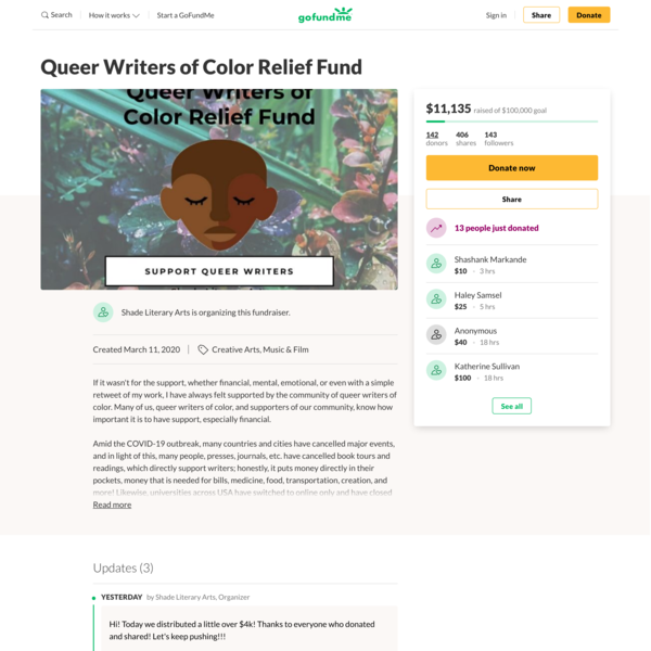 Queer Writers of Color Relief Fund organized by Shade Literary Arts