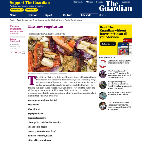 Yotam Ottolenghi's roasted parsnips with caper vinaigrette