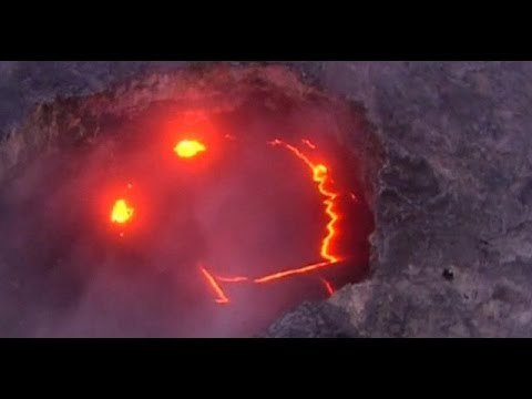 """Mick Kalber/Paradise Helicopters via Storyful This video has been uploaded for use by Storyful's subscription clients with the permission of the content owner. To use the video off platform, contact licensing@storyful.com. June 27, 2016 Kilauea """"smiley face"""" and Ocean Entry"""