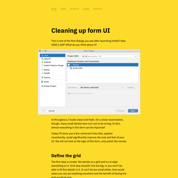 Cleaning up form UI
