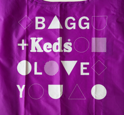 A screenprinted Electric Purple Baggu for KEDS, from our custom archive.