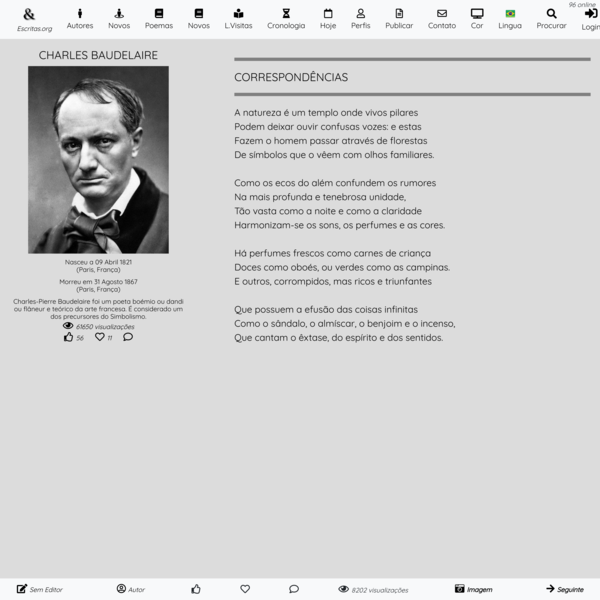 CORRESPONDÊNCIAS - Poema de Charles Baudelaire
