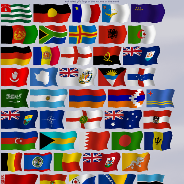 Animated gifs flags the Nations of the world