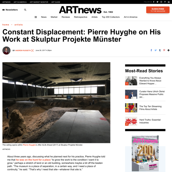 Constant Displacement: Pierre Huyghe on His Work at Skulptur Projekte Münster