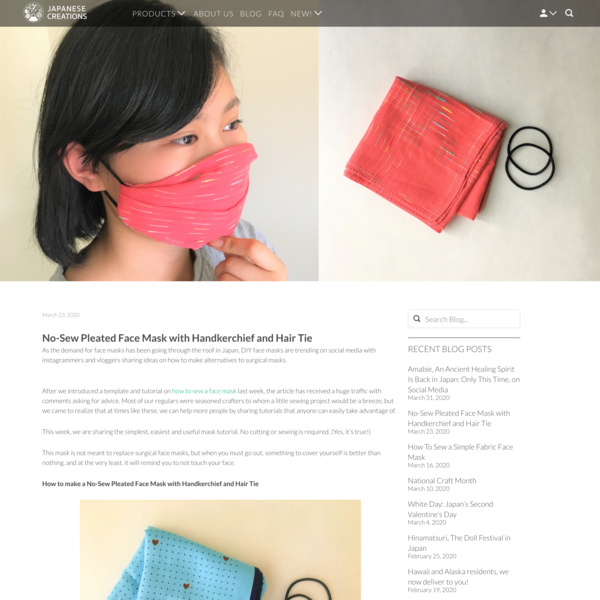 No-Sew Pleated Face Mask with Handkerchief and Hair Tie