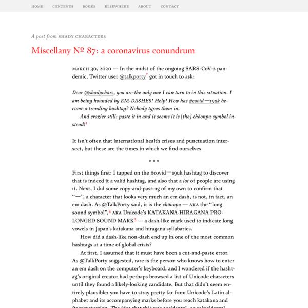 Miscellany № 87: a coronavirus conundrum – Shady Characters