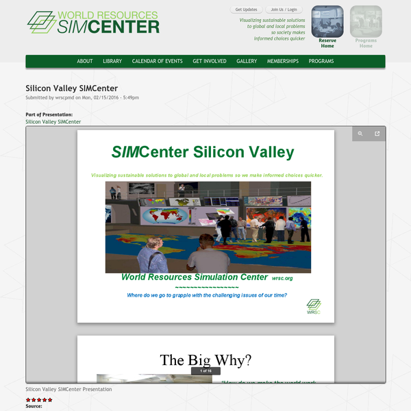 Silicon Valley SIMCenter | SimCenter | www.WRSC.org | Visualizing Sustainable Solutions