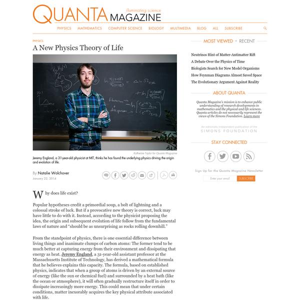 A New Physics Theory of Life | Quanta Magazine