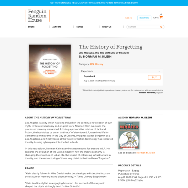 The History of Forgetting by Norman M. Klein: 9781844672424 | PenguinRandomHouse.com: Books