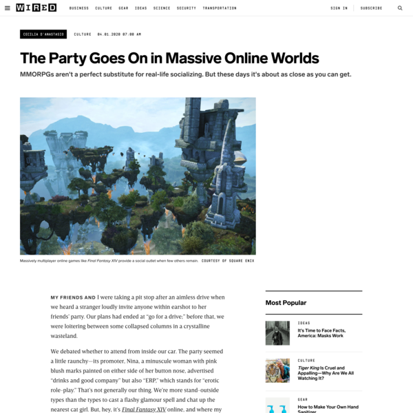 The Party Goes On in Massive Online Worlds