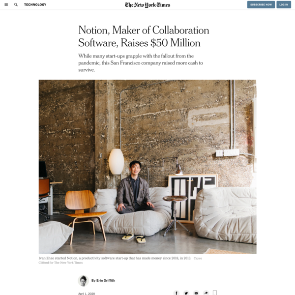 Notion, Maker of Collaboration Software, Raises $50 Million