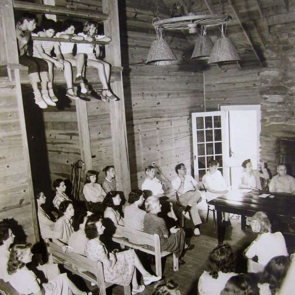 """Iconic shot - and TWO OUTTAKES - of Community Meeting, Black Mountain College, Summer 1944. Photographer: Josef Breitenbach."" –David Silver"