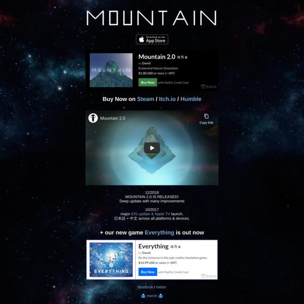 🗻 MOUNTAIN 2.0 - now available for PC, Mac, Linux, iOS & tvOS #mountaingame
