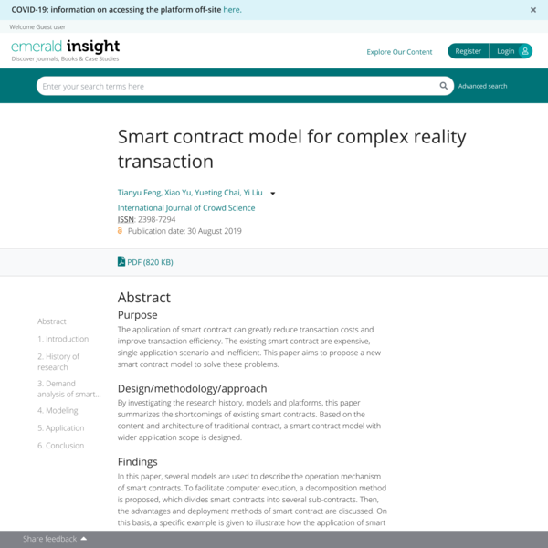 Smart contract model for complex reality transaction | Emerald Insight