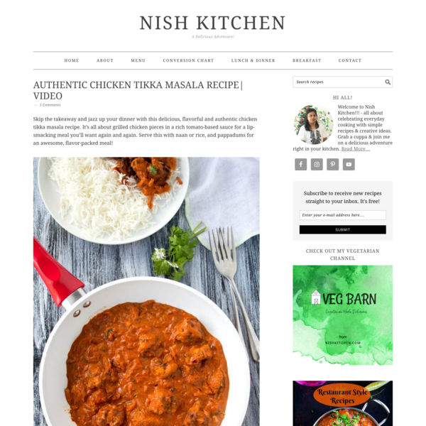 Authentic Chicken Tikka Masala Recipe| Video | Nish Kitchen