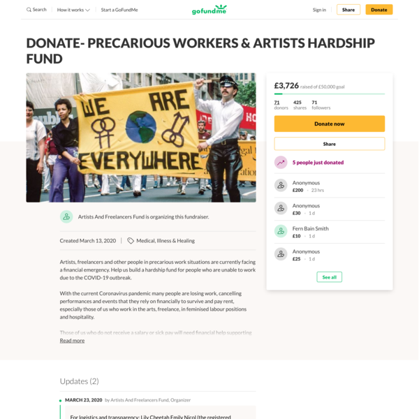 DONATE- PRECARIOUS WORKERS & ARTISTS HARDSHIP FUND organized by Artists And Freelancers Fund