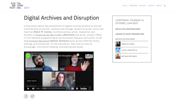 Digital Archives and Disruption   Digital Writers' Festival