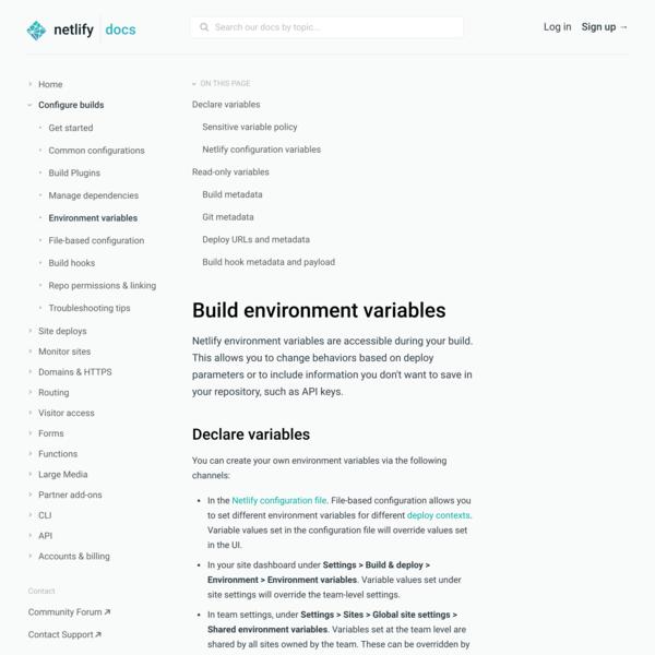 Build environment variables