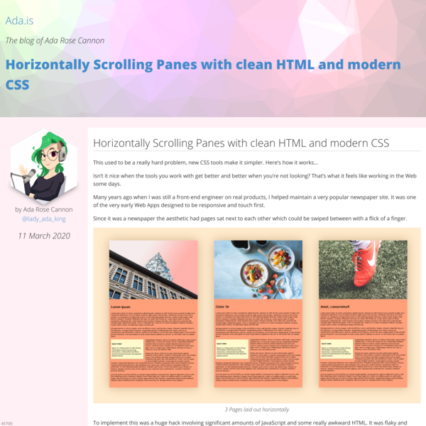 Horizontally Scrolling Panes with clean HTML and modern CSS by Ada Rose Cannon