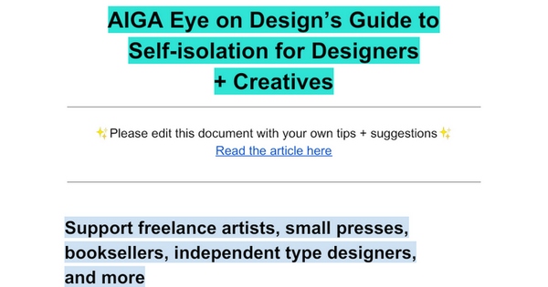 Self Isolation Guide for Designers