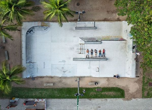 Photo by @gabrielegalimbertiphoto and Edoardo Delille | Rio de Janeiro, Brazil. Skaters pose for a drone portrait in one of ...