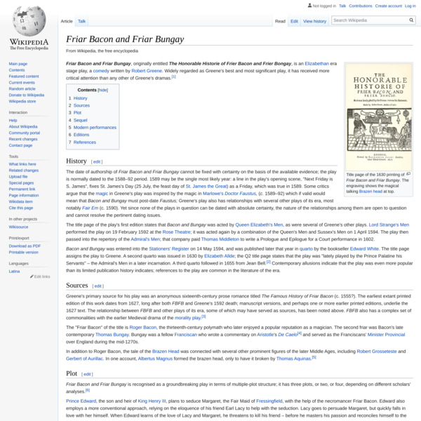 Friar Bacon and Friar Bungay - Wikipedia