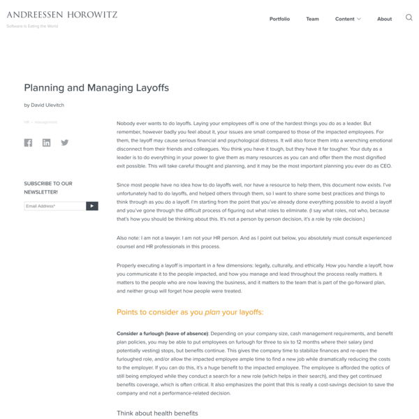Planning and Managing Layoffs - Andreessen Horowitz