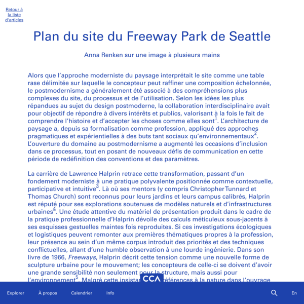 Plan du site du Freeway Park de Seattle